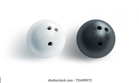 Blank black and white bowling ball mock up, top view, 3d rendering. Empty bowling game sphere mockup, isolated. Clear leisure sport equipment template. Plain shiny orb 3 holes, recreation activity