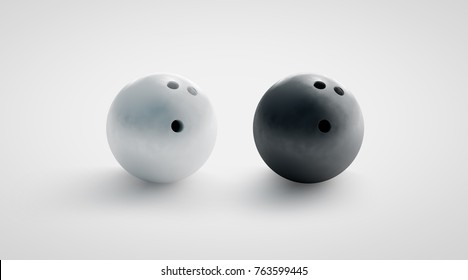 Blank black and white bowling ball mockups set, front view, 3d rendering. Empty bowl game sphere mock up, isolated. Leisure sport equipment design template. Plain shiny orb with 3 holes.