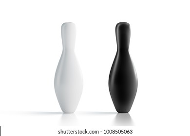 Blank black and white bowling skittles mock up, front view, 3d rendering. Empty bowl game pin mockup, isolated. Clear leisure sport equipment design template. Plain targets for recreation activity