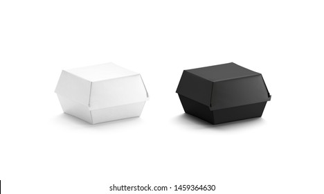 Blank black and white burger box mockup set, side view, 3d rendering. Empty disposable container for deliver mock up, isolated. Clear eco packaging for cheeseburger or nuggets template.