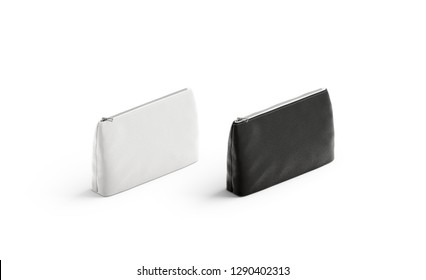 Blank black and white canvas pouch mockup set, isolated, 3d rendering. Empty cloth handbag mock up, side view. Clear female ziplock for cosmetic template.