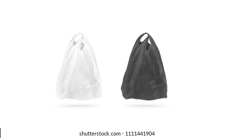 Blank black and white cellophane plastic t shirt bag mock up, 3d rendering. Empty plastic package hand hold mockup, isolated. Product food packet template, copy space