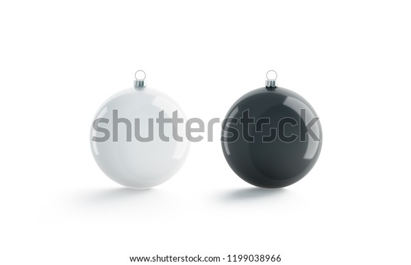 Blank black and white christmas ball for tree mockup set, isolated, 3d rendering. Empty decoration toy mock up. Clear new year adornment for pine template. Xmas festive bal for branding identity.