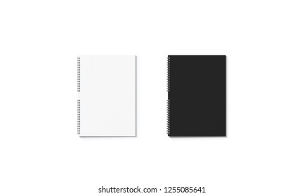 Blank black and white closed notebook mockup set, isolated, 3d rendering. Empty a4 jotter mock up, front view. Clear block note for memory text. Cardboard planner or organizer design.