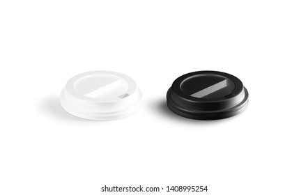 Blank black and white coffee cup lid mock-up, side view, isolated, 3d rendering. Empty one-off plastic cover for tea and coffe mug mock up. Clear hot drink cofe in paper tumbler cap template.