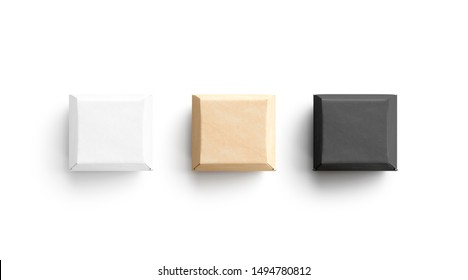 Blank black, white and craft burger box mockup set, 3d rendering. Empty square sandwich container mock up, top view, isolated. Clear carton packaging for takeout food template.