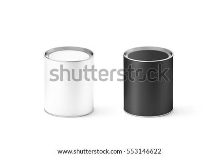 blank black white cylinder tincan mockup stock illustration