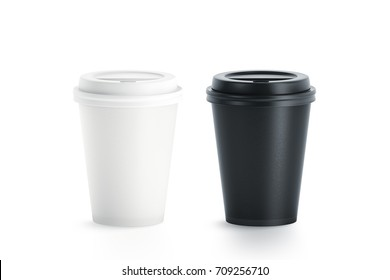 Blank black and white disposable paper cup with plastic lid mock up isolated, 3d rendering. Empty polystyrene coffee drinking mug mockup front view. Clear plain tea take away package