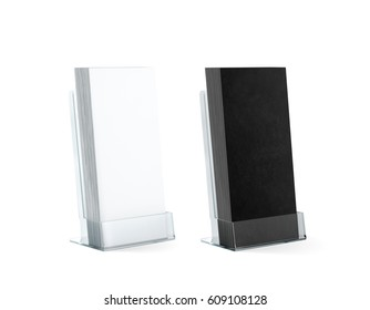 Blank black and white flyers stack mockups in glass plastic holder, 3d rendering. Dl fliers mockups stand in the acrylic box. Brochure template holding in transparent plexiglass pocket.