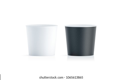 Blank black and white food bucket mockup isolated, 3d rendering. Empty pail fastfood front side view. Paper chicken bucketful design mock up. Clear popcorn box template.