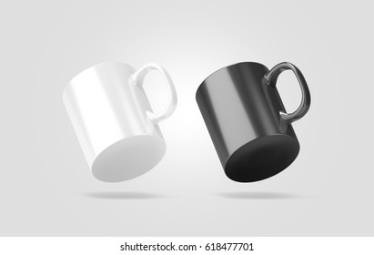 Blank black and white glass mug mockup isolated, no gravity view, 3d rendering. Clear 11 oz coffee cup mock up for sublimation printing. Empty gift pint set branding template. Glassy restaurant pint