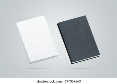 Blank black and white hardcover books mock up set, no gravity view, 3d rendering. Empty notebook cover mockups, isolated. Bookstore branding template. Plain textbook with clear binding.