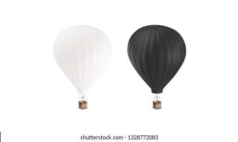 Blank black and white hot air balloon mockup, isolated, 3d rendering. Empty airships with gasbag mock up. Clear aerostat transport for adventure or expedition. Large dirigible template.