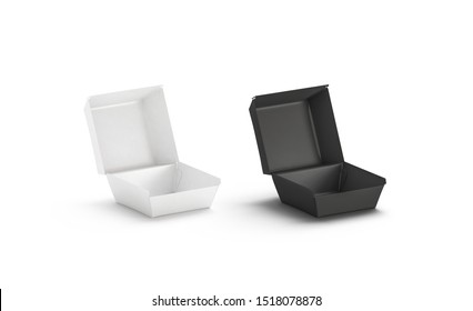 Blank black and white opened burger box mockup, isolated, 3d rendering. Empty portable pac for hamburger mock up, side view. Clear square pasteboard eco package for veggie meal template.