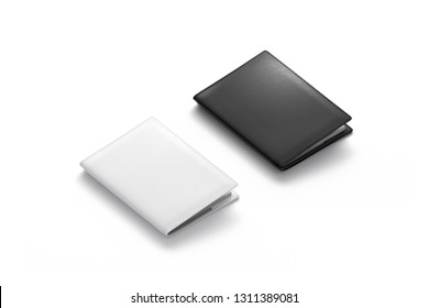 Blank black and white passport cover mockup set, isolated, 3d rendering. Empty closed pocketbook mock up, side view. Clear pass holder template. Covering for diary or jotter.