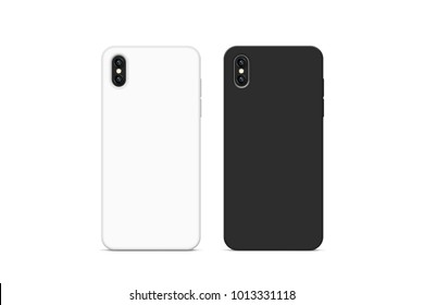 Blank black and white phone case mock up, stand isolated, 3d rendering. Empty smartphone cover mockup ready for logo or pattern print presentation. Cellphone protector cover concept. Cell casing