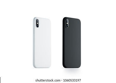 Blank black and white phone case mock up, stand left side isolated, Empty smartphone side view cover mockup ready for logo or pattern print presentation. Cellphone protector cover concept. Cell casing