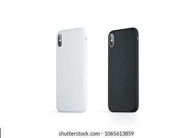 Blank black and white phone case mock up, stand right side isolated, 3d rendering. Empty smartphone side view cover mockup ready for pattern print presentation. Cellphone protector cover concept.