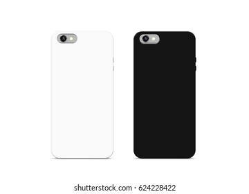 Blank black and white phone case mock up, isolated, 3d illustration. Empty smartphone cover mockups set ready for logo, texture print presentation. Cellphone protector cover design concept.