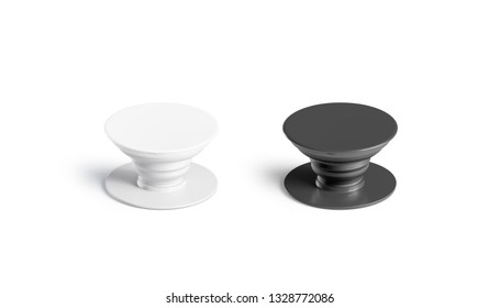 Blank black and white phone pop socket mockup set, isolated, 3d rendering. Empty glue accessory mock up. Clear sticky pad for smartphone. Circle rubberized popgrip template.