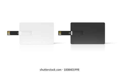 Blank black and white plastic wafer usb card mock up, 3d rendering. Visiting flash drive namecard mock up. Call-card disk souvenir presentation. Flat credit stick adapter. Bussiness wallet favor