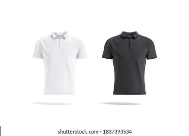 Blank black and white polo shirt mock up, front view, 3d rendering. Empty textile t-shirt with sleeve and collar mockup, isolated. Clear cloth golf uniform or classic sport garment template.