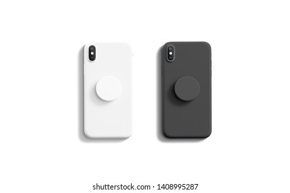 Blank black and white pop sockets attached on mobile phone mockups, isolated, top view, 3d rendering. Empty rubber popsocket holder on smartphone mock up. Clear round handle stick on cellphone.