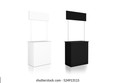 Blank black and white promo counter mockup stand, side view, 3d rendering. Trade promotional pop up, exhibition mock up set.