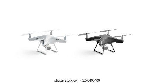 Blank black and white quadrocopter mockup set, stand isolated, 3d rendering. Empty unmanned spy mock up, side view. Aero drone with camera template. Modern dji pilot for lurking.
