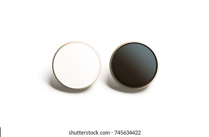 Blank black and white round gold lapel badge mock up, front view, 3d rendering. Empty luxury hard enamel pin mockup. Golden clasp-pin design template. Expensive square brooch for logo presentation