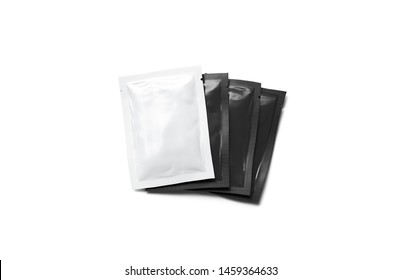 Blank black and white sachet packets stack mockup, isolated, 3d rendering. Empty disposable bag for shampoo or gel mock up, top view. Clear pile of wet wipe template.