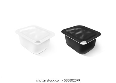 Blank black and white sauce plastic container mock up stand isolated, 3d illustration. Sause clear jar mockup. Dip empty box design presentation. Butter or honey packaging. Jam bank template.