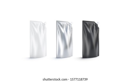 Blank black, white and silver sauce doypack with spout mockup set, 3d rendering. Empty foil flex package for gel or sause mock up isolated, side view. Clear mayonnaise or smak barbecue pack template.