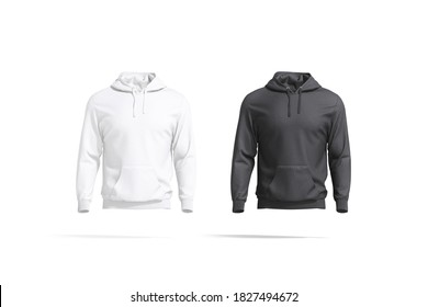 Blank black and white sport hoodie with hood mockup set, 3d rendering. Empty daily hooded sweatshirt mock up, isolated, front view. Clear long fleece or cotton hoodi template.