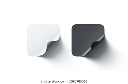 Blank black and white square adhesive stickers mockup curved corner, 3d rendering. Empty quadratic sticky label mock up with curl. Clear adherent tag template for glass door or wall.