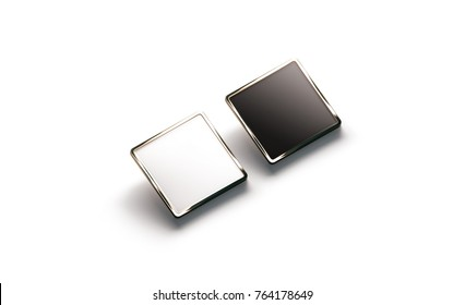 Blank black and white square gold lapel badge mockup, side view, 3d rendering. Empty luxury hard enamel pin mock up. Golden clasp-pin design template. Expensive square brooch for logo presentation