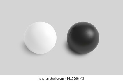 Blank black and white stress ball mockup, top view isolated, 3d rendering. Clear soft balloon for exercise in hand. Clean round antistress bal. Empty relay and rubber sphere from worry template.