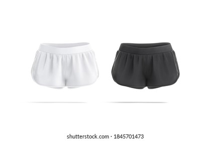 Blank black and white women shorts mock up, front view, 3d rendering. Empty sporty women short for gym training mockup, isolated. Clear cotton or nylon pants for jogging template.
