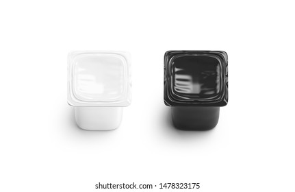Blank black and white yogurt box mockup set isolated, 3d rendering. Empty can for greek yougurt mock up, tow view. Clear closed tetra pac for yoghurt logotype template.