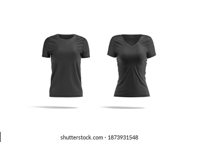 Blank black women slimfit and classic t-shirt mockup, front view, 3d rendering. Empty female casual undershirt mock up, isolated. Clear fabric jersey softwear for fashion printing template.