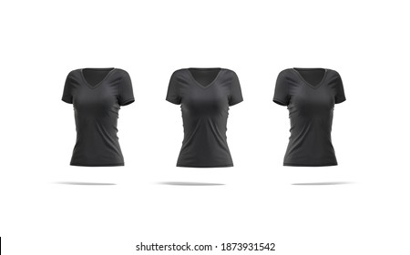 Blank black women slimfit t-shirt mockup, front and side view, 3d rendering. Empty v-neck spandex or cotton tshirt mock up, isolated. Clear basic softwear for woman undershirt template.