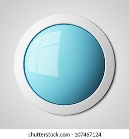 Blank blue button 3d render