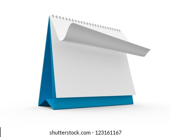 Blank blue desk calendar with one page curl, isolated on white background.