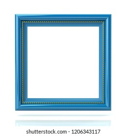 Blank blue picture frame template 3d illustration on white background