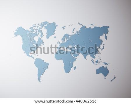 Blank Blue Texture Political World Map Stock Illustration 440062516 ...