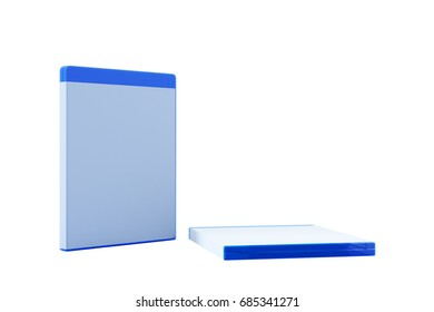 Blank Blu-ray Box or Case isolate on white background. 3D render