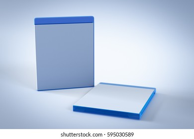 Blank Blu-ray Box or Case on white background. 3D render