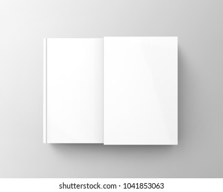Blank book with cardboard box cover, top view of book and case in 3d render