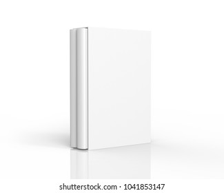 Blank book with cardboard box cover, stand book and case in 3d render