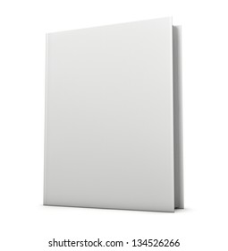 Blank book cover isolated on white. Clipping path included for easy selection.